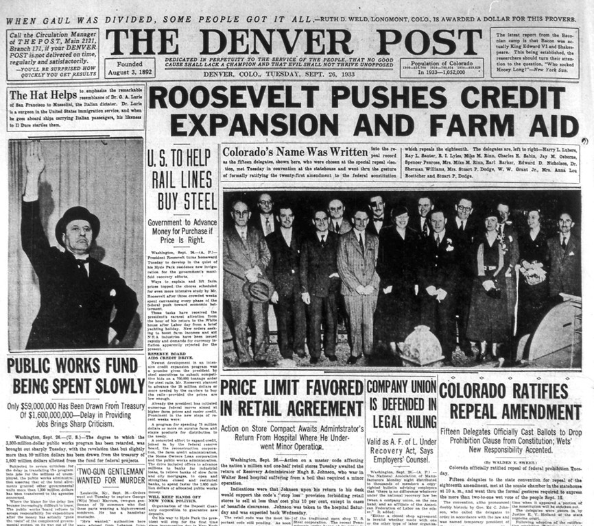 . The front page of The Denver Post on September 26, 1933. Fifteen state delegates were called to the state convention to formally ratify the twenty-first amendment to the federal constitution which repeals the eighteenth amendment of prohibition.