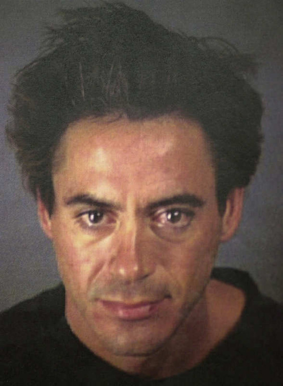 . Robert Downey Jr. is shown Saturday night, Nov. 25, 2000, after his arrest at the Merv Griffin Resort in Palm Springs, Calif., on Saturday for drug possession. An anonymous caller led investigators to a hotel room at the resort where they found the actor alone with cocaine and methamphetamine, Palm Springs police officer Ralph Landry said. (AP Photo/Palm Springs Police Department)
