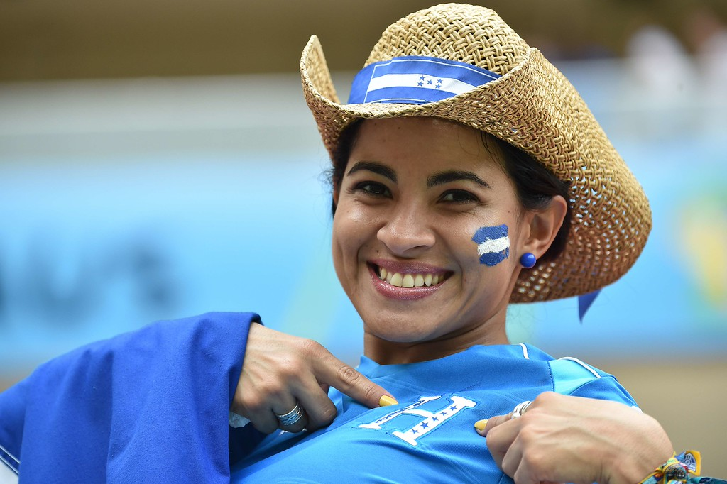 . A Honduras fan gestures before the start of the Group E football match between Honduras and Switzerland at the Amazonia Arena in Manaus during the 2014 FIFA World Cup on June 25, 2014. AFP PHOTO / RODRIGO  ARANGUA/AFP/Getty Images