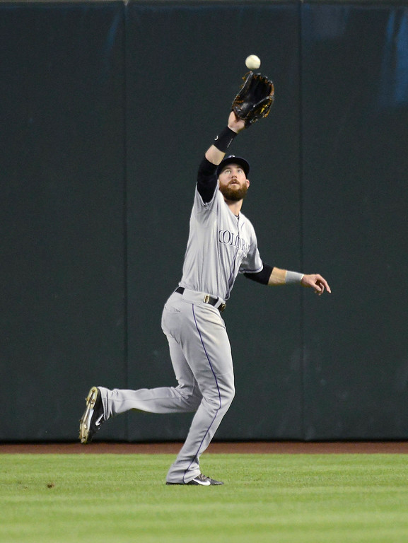 . Charlie Blackmon #19 of the Colorado Rockies catches a fly ball against the Arizona Diamondbacks at Chase Field on April 28, 2014 in Phoenix, Arizona.  (Photo by Norm Hall/Getty Images)