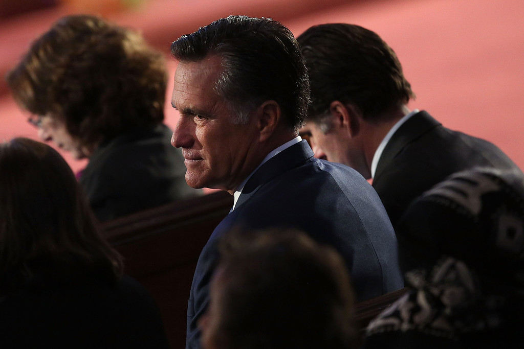 """. Former Massachusetts Governor and 2012 Republican presidential nominee Mitt Romney attends an interfaith prayer service for victims of the Boston Marathon attack titled \""""Healing Our City,\"""" where President Barack Obama spoke at the Cathedral of the Holy Cross on April 18, 2013 in Boston, Massachusetts.   (Photo by Spencer Platt/Getty Images)"""