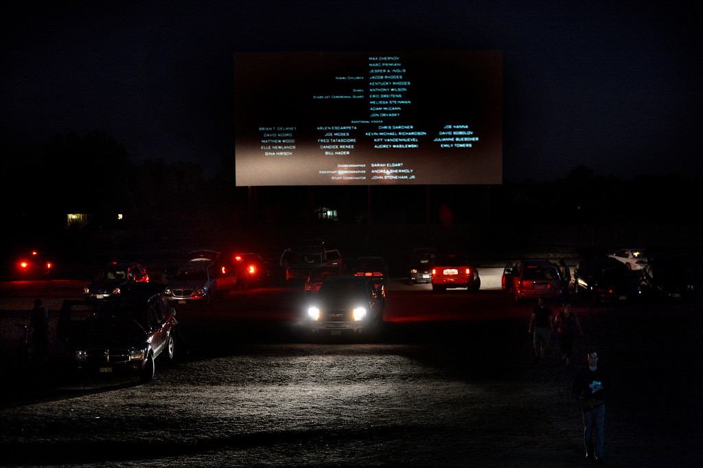 . PUEBLO, CO. - May 24: The credits come up and the lights go on to signal the end of the night at the Mesa Drive In. May 24, 2013 Pueblo, Colorado. (Photo By Joe Amon/The Denver Post)