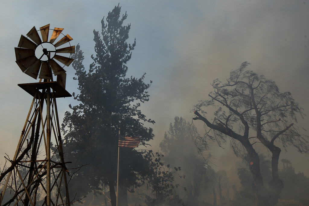 . A ranch is left a smoldering ruin by the Cocos fire on May 15, 2014 in San Marcos, California. Fire agencies throughout the state are scrambling to prepare for what is expected to be a dangerous year of wildfires in this third year of extreme drought in California.   (Photo by David McNew/Getty Images)