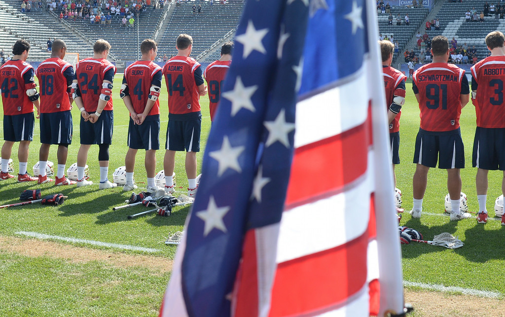 . COMMERCE CITY, CO - JULY 17: The Americans stood for the National Anthem. Team USA faced Australia in a FIL World Championship semifinal game Thursday night, July 17, 2014.  Photo by Karl Gehring/The Denver Post