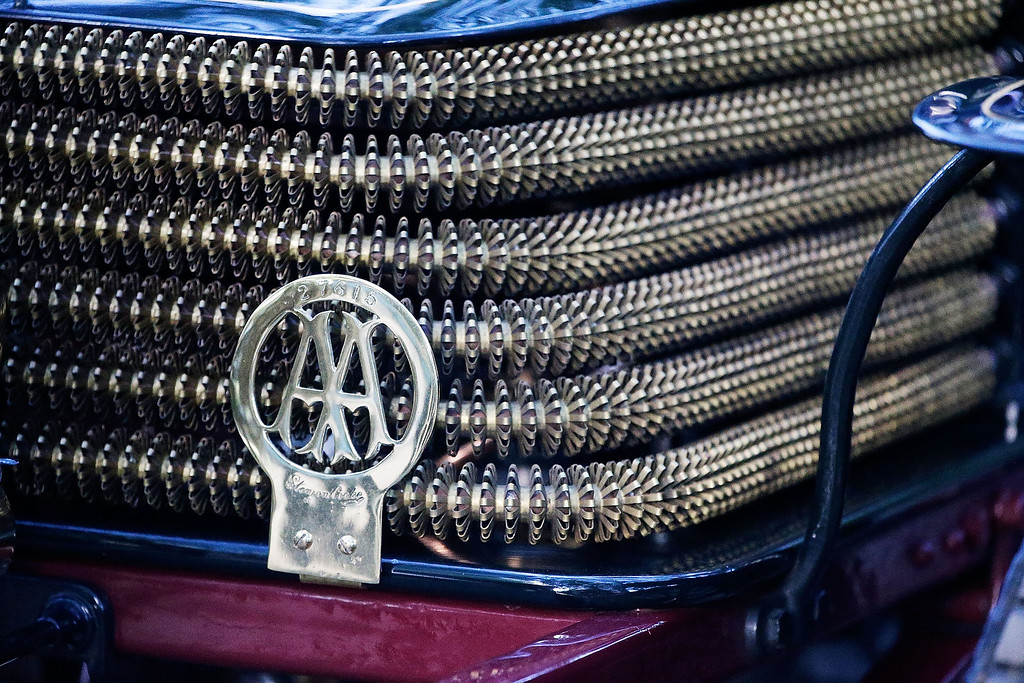 . A radiator grille sporting an AA badge at the start of the Royal Automobile Club\'s annual Veteran Car Run in Hyde Park on November 3, 2013 in London, England. Around 500 eligible pre-1905 cars take part in The Royal Automobile Club\'s annual 60-mile drive from Hyde Park in central London to the seafront on the Sussex resort of Brighton. It is the longest running motoring event in the world, and attracts entrants from across the globe.  (Photo by Matthew Lloyd/Getty Images)