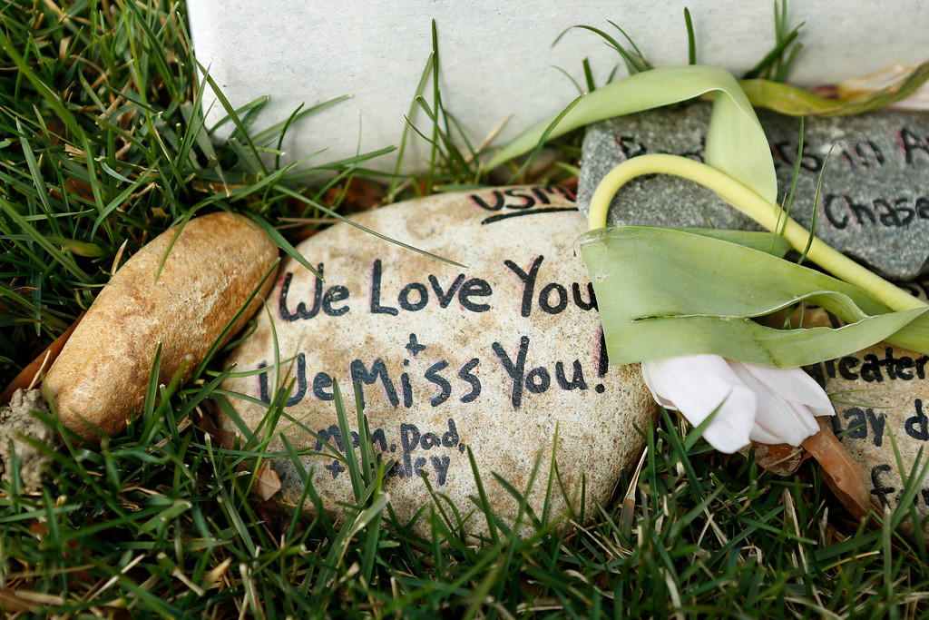 . Stones with messages sit beside a headstone in Section 60 at Arlington National Cemetery in Virginia, March 13, 2013. Section 60 contains graves of soldiers from the wars in Iraq and Afghanistan. Picture taken March 13, 2013. REUTERS/Kevin Lamarque