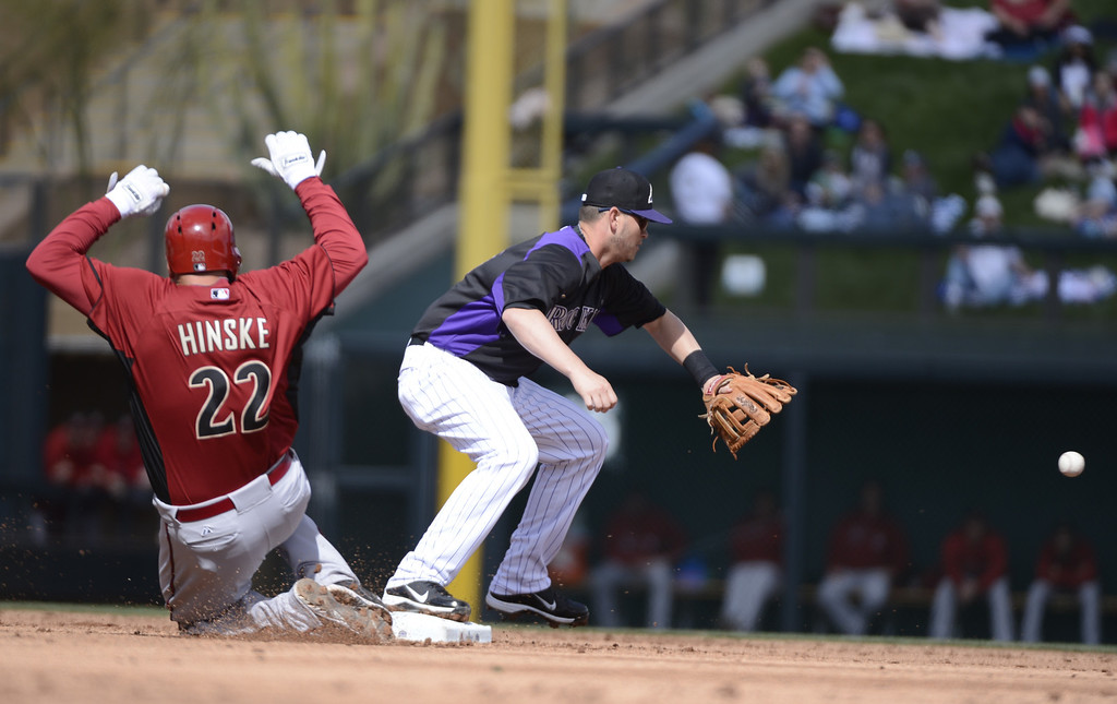 . SCOTTSDALE, AZ. - FEBRUARY 24: Reid Brignac (16) of the Colorado Rockies waits for the ball as he forces Eric Hinske (22) of the Arizona Diamondbacks at second base for the third out February 24, 2013 in Scottsdale. (Photo By John Leyba/The Denver Post)