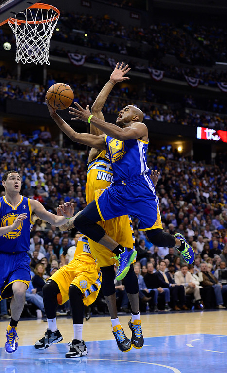 . DENVER, CO. - APRIL 23: Golden State Warriors point guard Jarrett Jack (2) puts up a shot in the second quarter. The Denver Nuggets took on the Golden State Warriors in Game 2 of the Western Conference First Round Series at the Pepsi Center in Denver, Colo. on April 23, 2013. (Photo by AAron Ontiveroz/The Denver Post)