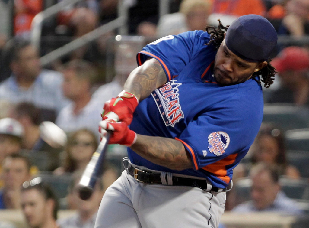. American League batter Prince Fielder, of the Detroit Tigers, hits a home run during the Major League Baseball All-Star Game Home Run Derby in New York, July 15, 2013.   REUTERS/Shannon Stapleton