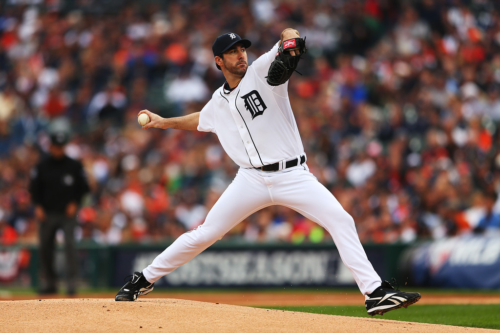 . Justin Verlander #35 of the Detroit Tigers pitches in the first inning of Game Three of the American League Championship Series against the Boston Red Sox at Comerica Park on October 15, 2013 in Detroit, Michigan.  (Photo by Mike Ehrmann/Getty Images)