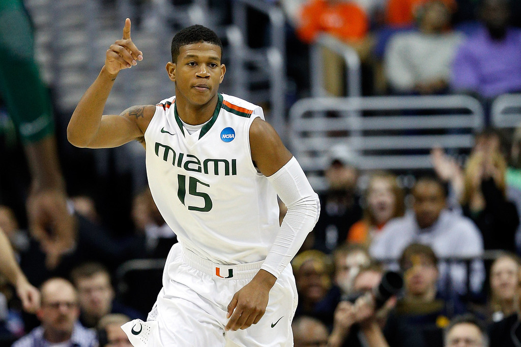 . WASHINGTON, DC - MARCH 28:  Rion Brown #15 of the Miami (Fl) Hurricanes reacts against the Marquette Golden Eagles during the East Regional Round of the 2013 NCAA Men\'s Basketball Tournament at Verizon Center on March 28, 2013 in Washington, DC.  (Photo by Rob Carr/Getty Images)