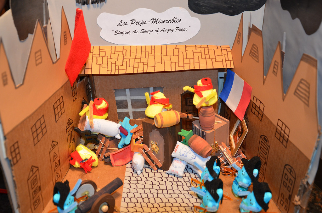 ". Les Peeps-Miserables ""Singing Songs of Angry Peeps\"" as they stand in the French Revolution. Chip Dunn"