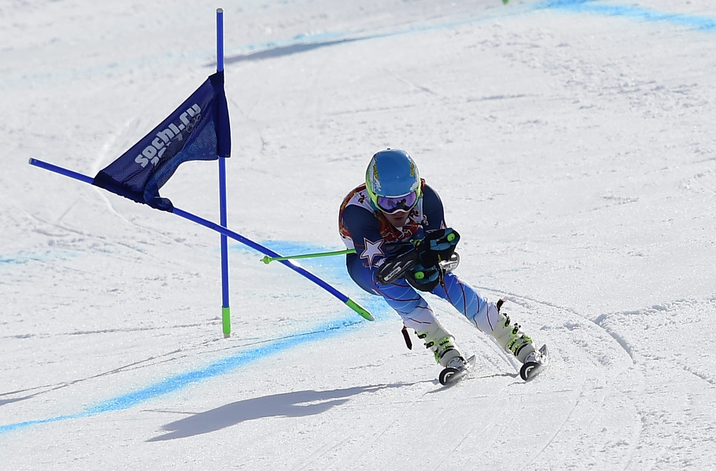 . US skier Ted Ligety skis to win the Men\'s Alpine Skiing Giant Slalom Run 2 at the Rosa Khutor Alpine Center during the Sochi Winter Olympics on February 19, 2014.     AFP PHOTO / OLIVIER  MORIN/AFP/Getty Images