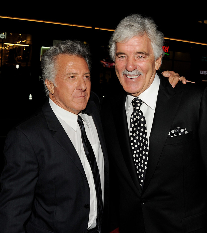 ". Producer/actor Dustin Hoffman (L) and actor Dennis Farina arrive at the premiere of HBO\'s ""Luck\"" at the Chinese Theater on January 25, 2012 in Los Angeles, California.  (Photo by Kevin Winter/Getty Images)"