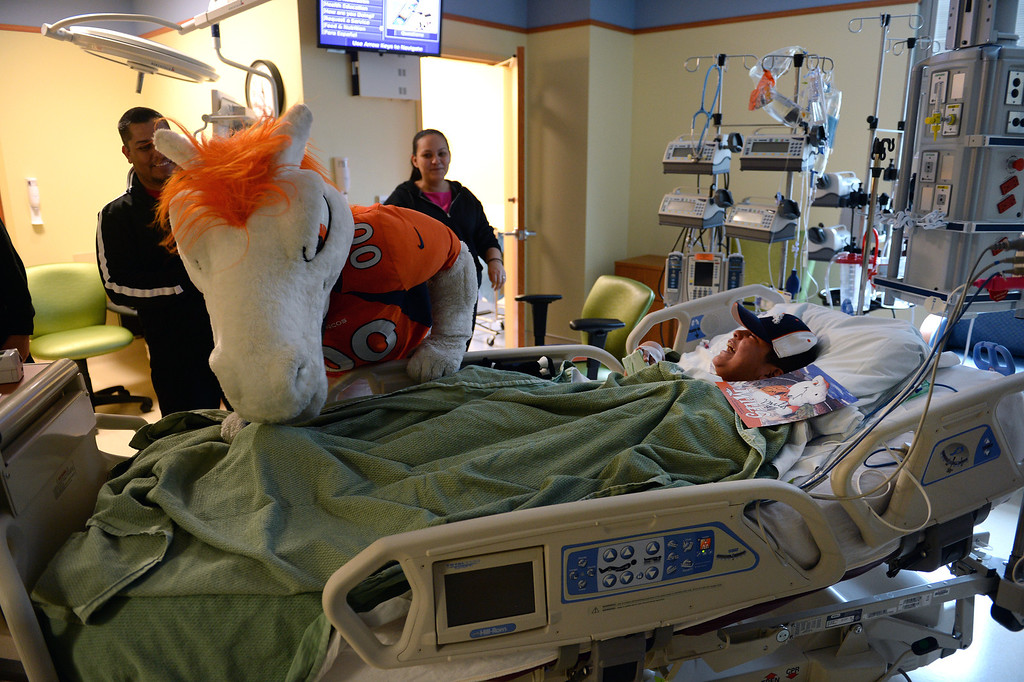 . Emmanuel Vargas, 11, right, laughs as Miles, the Broncos Mascot, tickles his toes as he lies in his bedroom in the Pediatric Intensive Care Unit at the  Rocky Mountain Hospital for Children in Denver, Co on January 14, 2014.   (Photo By Helen H. Richardson/ The Denver Post)