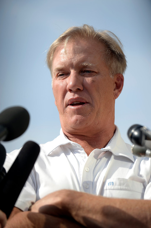 . Denver Broncos Executive V.P. of Football Operations John Elway addresses the media to comment August 20, 2013 at Dove Valley on the six game suspension of linebacker Von Miller, handed down by the NFL for violating its drug policy. (Photo by John Leyba/The Denver Post)