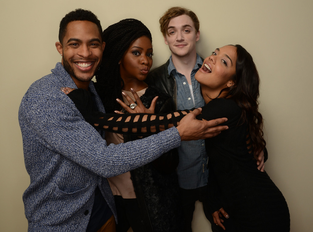 . (L-R) Actors Brandon P Bell, Teyonah Parris, Kyle Gallner, and Tessa Thompson pose for a portrait during the 2014 Sundance Film Festival at the Getty Images Portrait Studio at the Village At The Lift on January 20, 2014 in Park City, Utah.  (Photo by Larry Busacca/Getty Images)