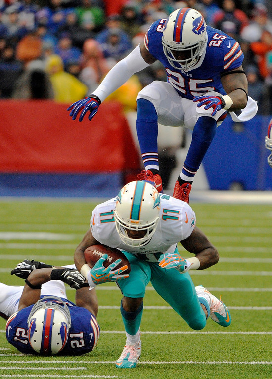 . Miami Dolphins wide receiver Mike Wallace (11) is pursued by Buffalo Bills defenders Leodis McKelvin (21) and Da\'Norris Searcy (25) during the first half of an NFL football game Sunday, Dec. 22, 2013, in Orchard Park, N.Y. (AP Photo/Gary Wiepert)
