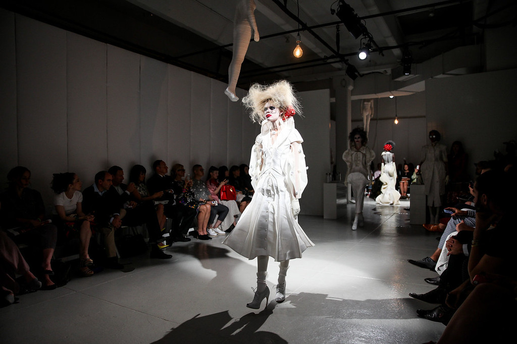 . A model walks the runway during the Thom Browne Women\'s fashion show during Mercedes-Benz Fashion Week Spring 2014 at Center 548 on September 9, 2013 in New York City.  (Photo by Chelsea Lauren/Getty Images)