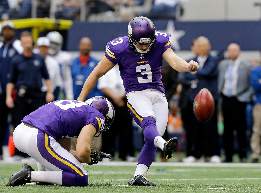 . Minnesota Vikings punter Jeff Locke (18) holds for kicker Blair Walsh (3) as Walsh kicks a field goal against the Dallas Cowboys in the first half of an NFL football game, Sunday, Nov. 3, 2013, in Arlington, Texas. (AP Photo/Nam Y. Huh)
