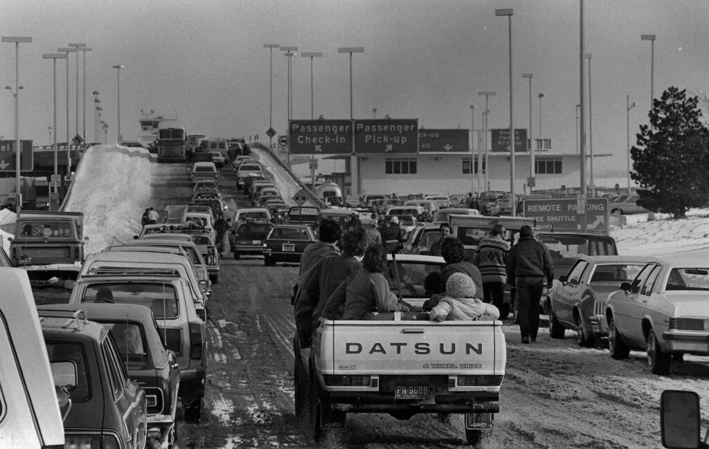 . Traffic headed for the airport after the Blizzard of \'82. Denver Post Library Archive
