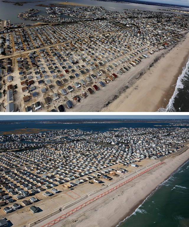 . SEASIDE HEIGHTS, NJ - OCTOBER 31:  (top)  Homes are shown surrounded by sand and debris in Seaside Heights, New Jersey October 31, 2012. (Photo by  Mario Tama/Getty Images)     SEASIDE HEIGHTS, NJ - OCTOBER 21: (bottom)   Homes are shown in Seaside Heights, New Jersey are shown October 21, 2013.  Hurricane Sandy made landfall on October 29, 2012 near Brigantine, New Jersey and affected 24 states from Florida to Maine and cost the country an estimated $65 billion.  (Photo by Andrew Burton/Getty Images)