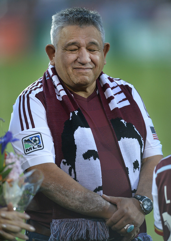 . Pablo Mastroeni\'s father showed his emotion as his son was honored with s spot on the team\'s gallery of honor at the stadium Friday night.  Photo by Karl Gehring/The Denver Post