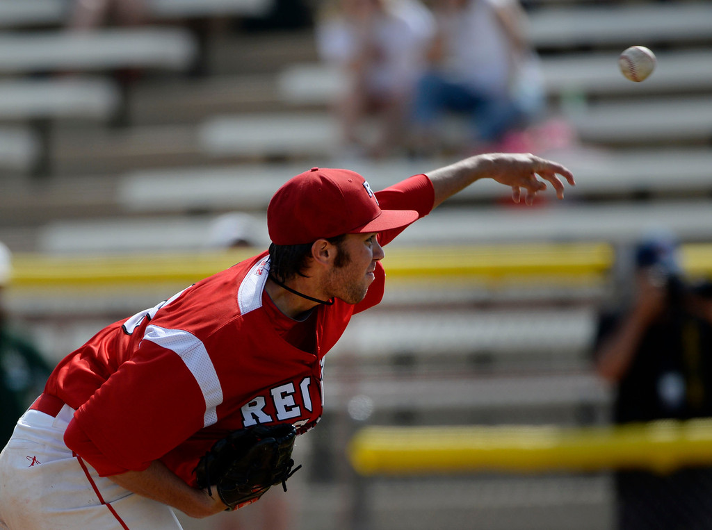 . DENVER, CO. - MAY 23: Starting pitcher for Regis, David Peterson pitching against Mountain Visita during the Colorado State 5A baseball playoffs at All City Field Friday afternoon, May 23, 2014. (Photo By Andy Cross / The Denver Post)