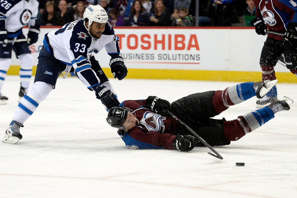 . Erik Johnson (6) of the Colorado Avalanche loses his footing as Dustin Byfuglien (33) of the Winnipeg Jets defends during the Avs\' 3-2 win. (Photo by AAron Ontiveroz/The Denver Post)