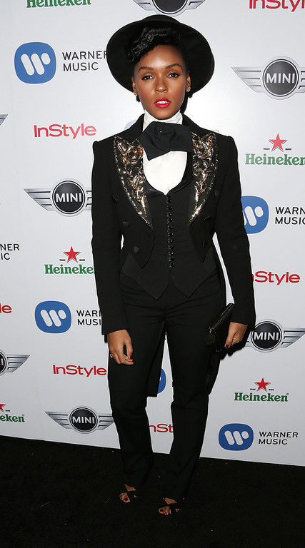 . Recording artist Janelle Monae attends Warner Music Group\'s 2013 Grammy Celebration at Chateau Marmont\'s Bar Marmont on February 10, 2013 in Hollywood, California.  (Photo by Frederick M. Brown/Getty Images)