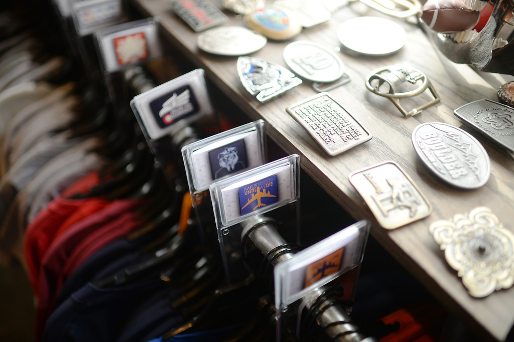 . DENVER MARCH 26: Designed T-shirts and belt buckles in hipster boutique Megafauna. Denver, Colorado March 26, 2014. (Photo by Hyoung Chang/The Denver Post)
