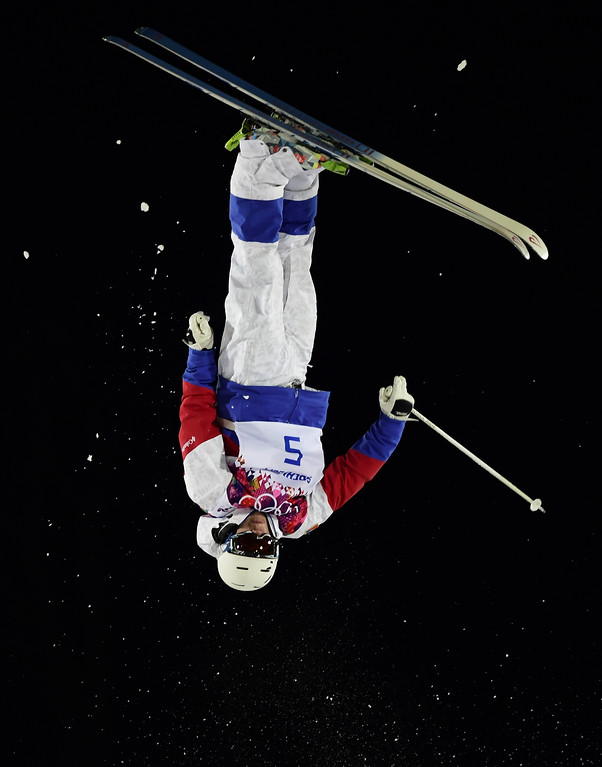 . Russia\'s Alexandr Smyshlyaev competes in the Men\'s Freestyle Skiing Moguls finals at the Rosa Khutor Extreme Park during the Sochi Winter Olympics on February 10, 2014. Smyshlyaev  won the Bronze Medal.   JAVIER SORIANO/AFP/Getty Images
