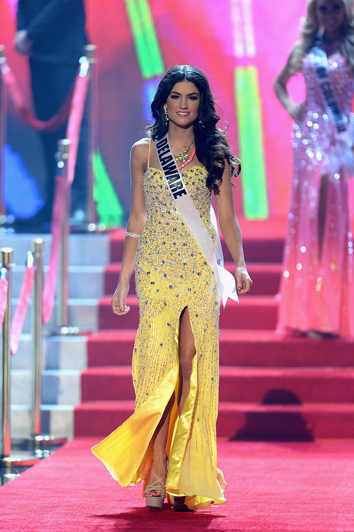 . Miss Delaware USA Rachel Baiocco walks onstage during the 2013 Miss USA pageant at PH Live at Planet Hollywood Resort & Casino on June 16, 2013 in Las Vegas, Nevada.  (Photo by Ethan Miller/Getty Images)