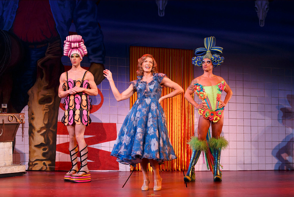 """. Left to right; Mitzi (Wade McCullom), Bernadette (Scott Wlllis) and Felicia (Bryan West) in \""""Priscilla Queen of the Desert the Musical.\""""   (Photo by Joan Marcus, Provided by Denver Center Attractions)"""