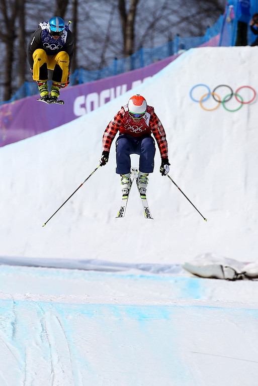 . Brady Leman of Canada leads during the Freestyle Skiing Men\'s Ski Cross 1/8 Finals on day 13 of the 2014 Sochi Winter Olympic at Rosa Khutor Extreme Park on February 20, 2014 in Sochi, Russia.  (Photo by Streeter Lecka/Getty Images)