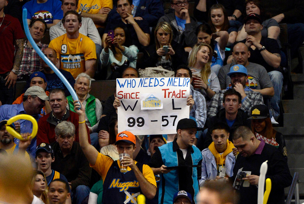 . Denver Nuggets fan holds up a sign for New York Knicks Carmelo Anthony during their game March 13,  2013 at Pepsi Center. (Photo By John Leyba/The Denver Post)