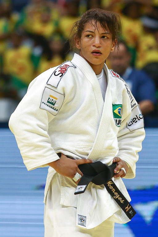 . RIO DE JANEIRO, BRAZIL - AUGUST 26: Sarah Menezes of Brazil  in the -48 kg category during the World Judo Championships at the Maracanazinho gymnasium on August 26, 2013 in Rio de Janeiro, Brazil.(Photo by Buda Mendes/Getty Images)