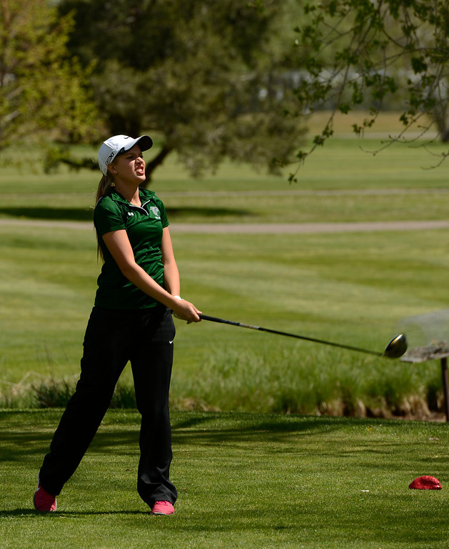 . Alyssa Stuck, of Falcon High School, is upset with her shot on hole 12 during the first round of the Colorado State Girls 4A Golf Tournament at Broken Tee Golf Course in Englewood, May 20, 2013. (Photo By RJ Sangosti/The Denver Post)