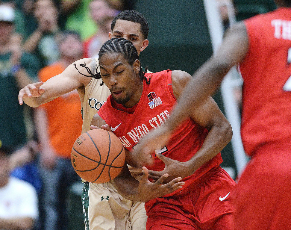 . San Diego State forward Josh Davis (22) stoled the ball from Rams\' guard Daniel Bejarano (2) in the second half.  The Colorado State men\'s basketball team fell 71-61 to San Diego State Wednesday night, January 1, 2014. Photo By Karl Gehring/The Denver Post