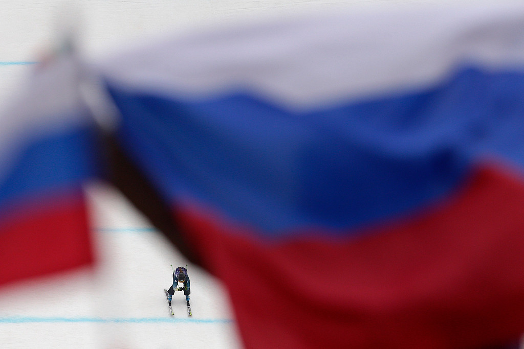 . Australia\'s Katya Crema competes during a women\'s ski cross quarterfinals at the Rosa Khutor Extreme Park, the 2014 Winter Olympics, Friday, Feb. 21, 2014, in Krasnaya Polyana, Russia. (AP Photo/Jae C. Hong)