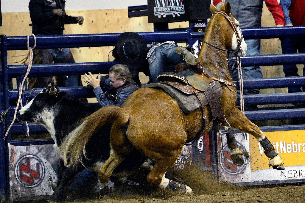 . DENVER, CO. - JANUARY 21:  Tiphani Carter wrecks into photographer Greg Westfall during the steer undressing performance at the National Western Stock Show Martin Luther King Heritage Rodeo January 21, 2013 (Photo By AAron Ontiveroz / The Denver Post)