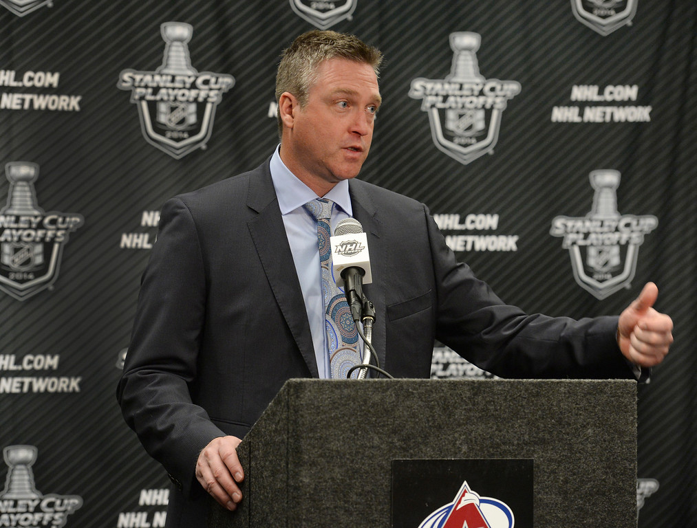 . Colorado coach Patrick Roy praised his players when talking to the media after the game. The Colorado Avalanche defeated the Minnesota Wild 4-2 at the Pepsi Center Saturday night, April 19, 2014 in an NHL playoff game. (Photo by Karl Gehring/The Denver Post)