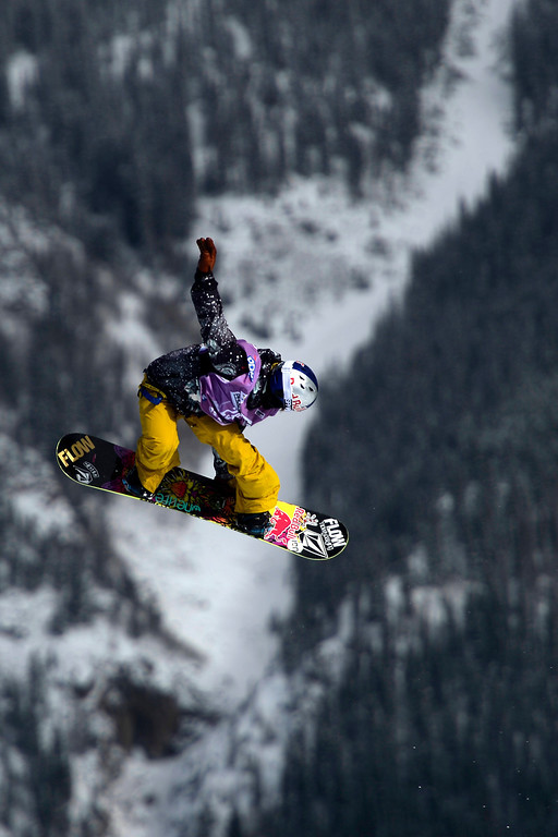 . Champion Sarka Pancochova rides during the slopestyle finals of the Copper Mountain Grand Prix.  (Photo by AAron Ontiveroz/The Denver Post)
