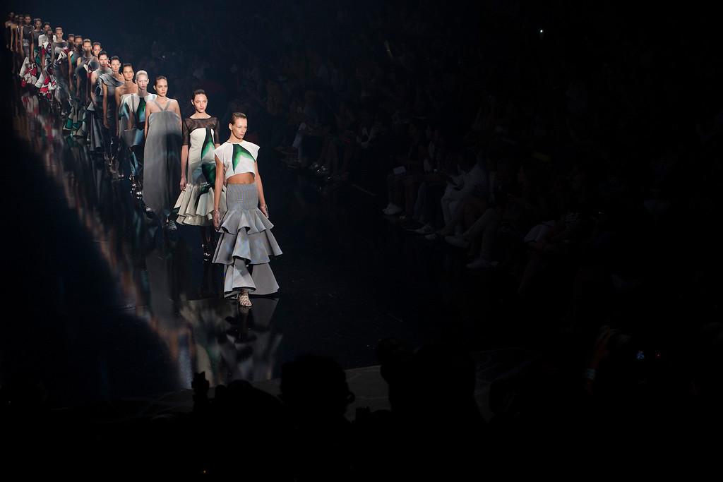 . Models wear creations from the Filhas de Gaia collection during Fashion Week in Rio de Janeiro, Brazil, Friday, April 11, 2014. (AP Photo/Felipe Dana)