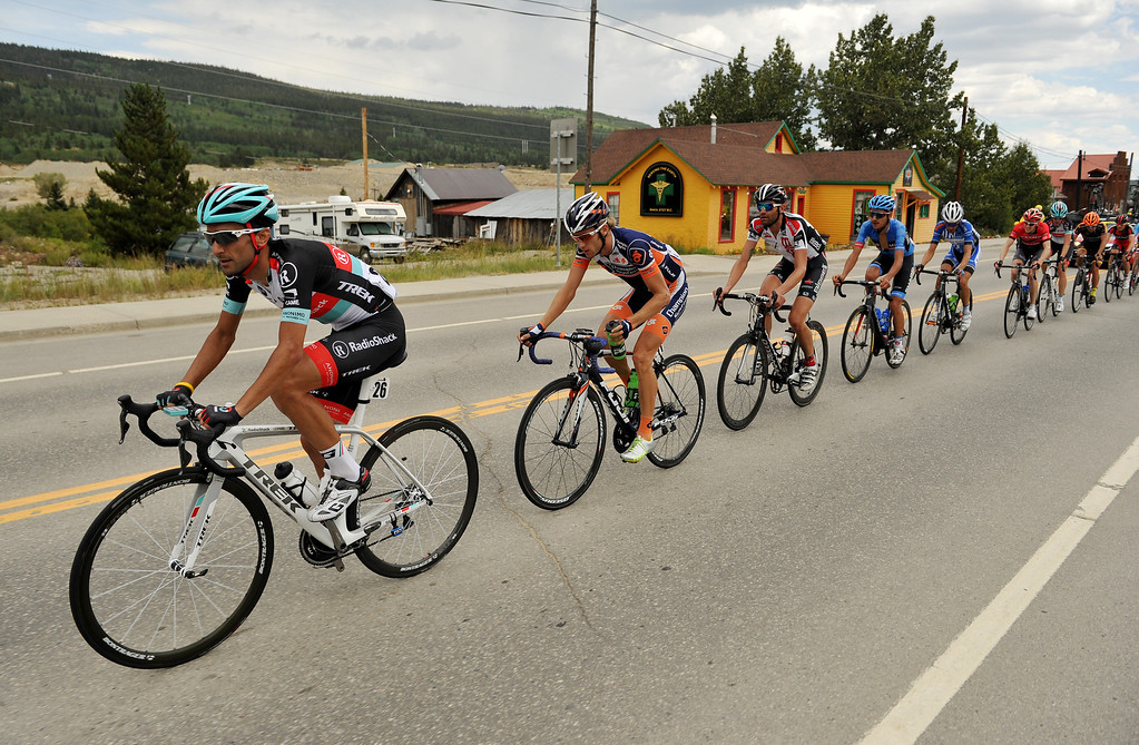 . Tiago Machado of RadioShack - Leopard (#26) leads the group of cyclists as they head to Fairplay during the second stage of the 2013 USA Pro Challenge race from Aspen to Breckenridge.  (Photo By Hyoung Chang/The Denver Post)