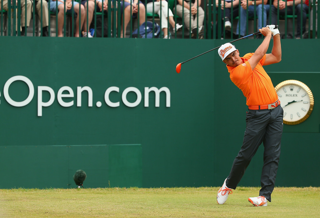 . Rickie Fowler of the United States tees off on the 1st hole during the final round of The 143rd Open Championship at Royal Liverpool on July 20, 2014 in Hoylake, England.  (Photo by Mike Ehrmann/Getty Images)