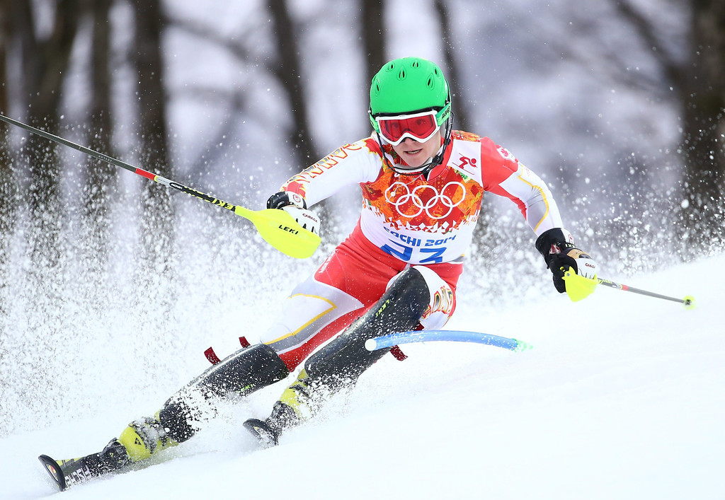 . Brittany Phelan of Canada in action during the first run of the Women\'s Slalom race at the Rosa Khutor Alpine Center during the Sochi 2014 Olympic Games, Krasnaya Polyana, Russia, 21 February 2014.  EPA/MICHAEL KAPPELER