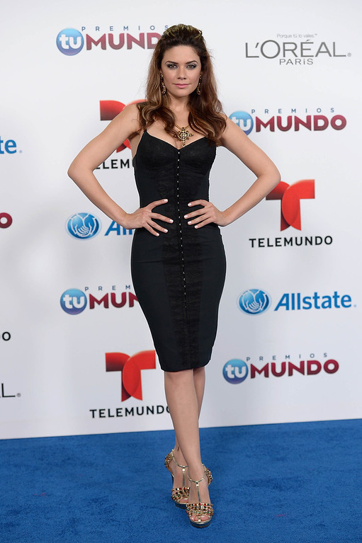 . MIAMI, FL - AUGUST 15:  Angelica Celaya arrives for Telemundo\'s Premios Tu Mundo Awards at American Airlines Arena on August 15, 2013 in Miami, Florida.  (Photo by Gustavo Caballero/Getty Images)