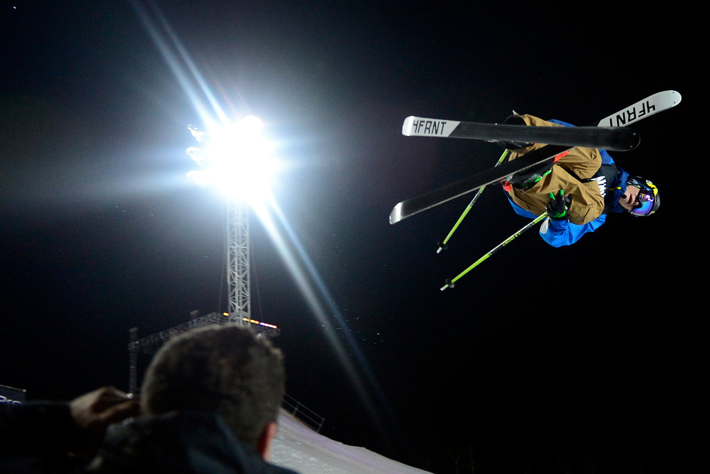. ASPEN, CO. - JANUARY 24: David Wise scores a 94 on his first run during the men\'s ski superpipe final. X Games Aspen Buettermilk Mountain Aspen January 25, 2013 (Photo By AAron Ontiveroz / The Denver Post)