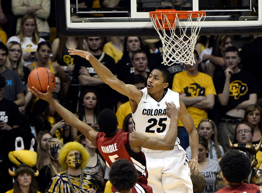 . University of Colorado\'s Spencer Dinwiddie blocks the shot of Chasson Randle during a game against Stanford on Thursday, Jan. 24, at the Coors Event Center on the CU campus in Boulder. For more photos of the game go to www.dailycamera.com Jeremy Papasso/ Camera